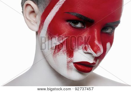 Fashion Beauty Female Model With Halloween Bloody Makeup