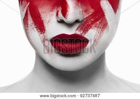 Halloween Bloody Makeup. Closeup Red Lips On White Skin