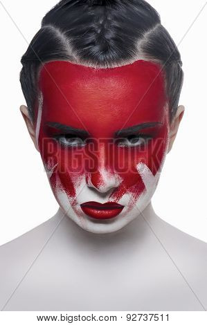 Young Female Model With Red Lips And Blood On Face