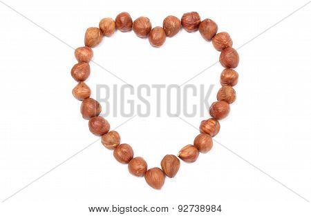 Valentine Heart Of Hazelnut On White Background