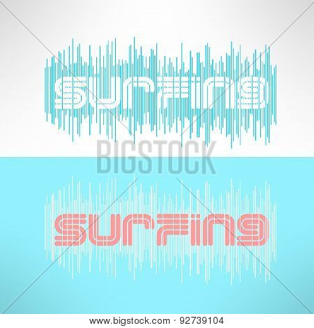 Vector surf typography with stripes. T-shirt surfboard graphic design. Inspirational sports backgrou