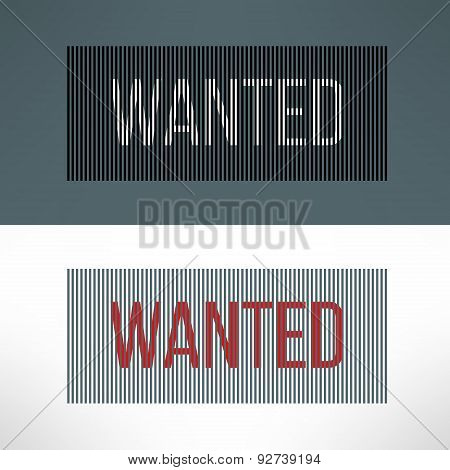 Vector wanted sign on a striped background
