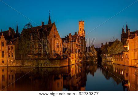 Rozenhoedkaai in Brugge, Belgium during twilight