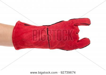 Heavy-duty red glove rock sign.