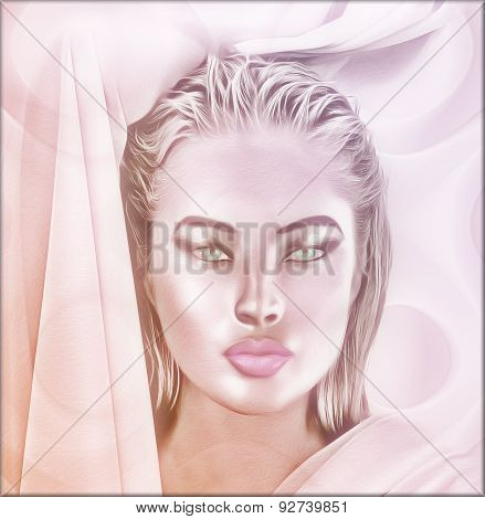 Close up face of a woman with beautiful cosmetics. This blonde girl is set on a pink abstract backgr