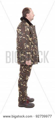 Worker in Camouflage winter jacket.