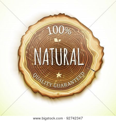 Vector Drawing Tree Cut 100 Percent Natural Wood Label
