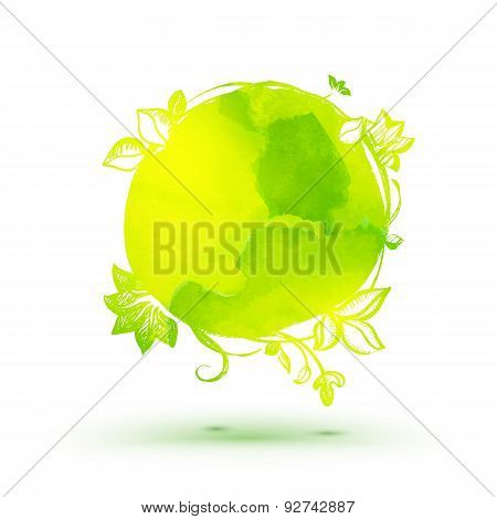 Watercolor Ecology Theme Drawing Sticker