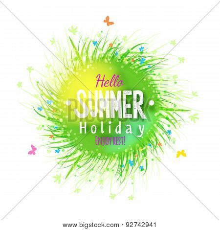Summer Holidays Grass Circle Label With Floral Elements