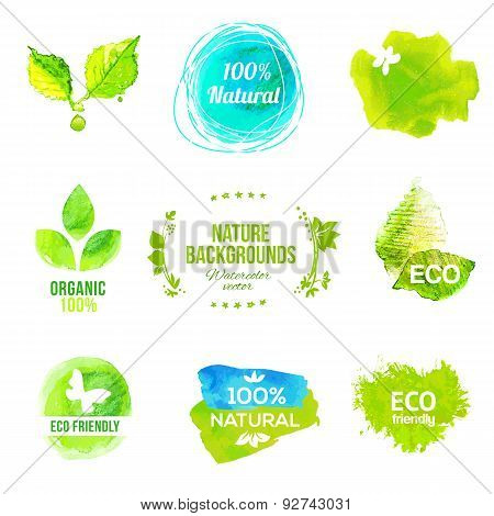Watercolor Eco Friendly Product Labels Set