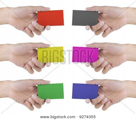 hand showing card in 6 different colors