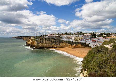 Carvoeiro Village And Beach At Algarve