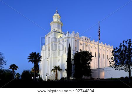 Detail of St George Utah LDS Mormon Temple in early morning light