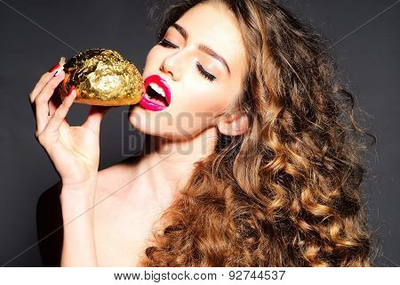 Cute Pretty Young Girl With Golden Bread Roll