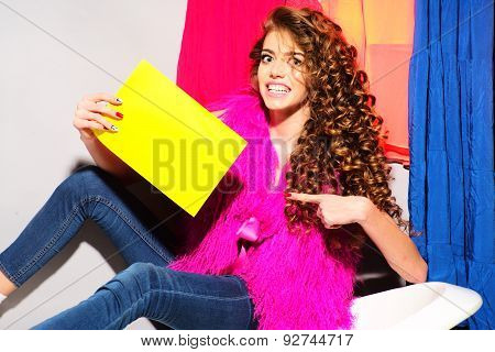 Fashionable Smiling Young Woman On Bathtub