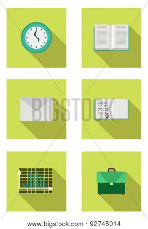 School bag, clock, envelope, book, diary, chart. Studiing objects. Vector illustration