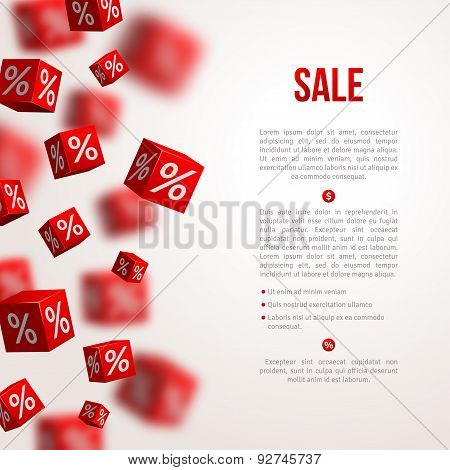 Sale cubes poster. Vector illustration.