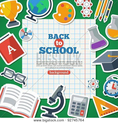 Back To School Background With Flat Icon Stickers Set.