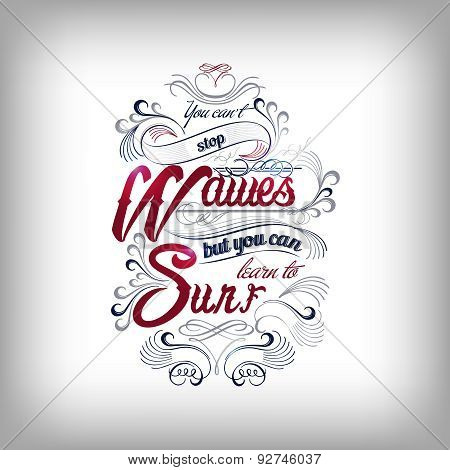 wavew and surf typography design