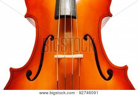 Violoncello body with bridge and F-holes