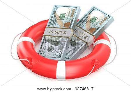 Pack Of Dollars On Lifebuoy