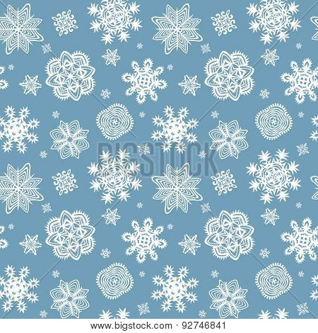 Winter blue wrapper with beautiful paper snowflakes