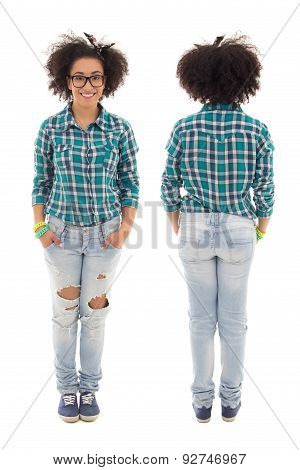 Front And Back View Of Beautiful African American Teenage Girl Isolated On White