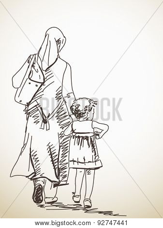 Sketch of walking woman and girl Hand drawn illustration