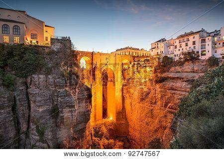 Ronda, Spain at Puente Nuevo Bridge.