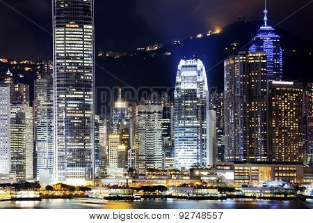 hong kong office buildings at night, shoot from kowloon side
