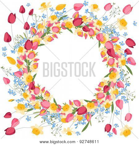 Detailed contour wreath with tulips and daffodils isolated on white. Round frame for your design, greeting cards, announcements, posters.