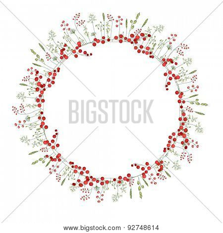 Detailed contour wreath with herbs,red,berries and wild stylized flowers isolated on white. Round frame for your design, greeting cards, announcements, posters.