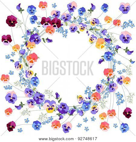 Detailed contour wreath with viola and forget-me-not  flowers isolated on white. Round frame for your design, greeting cards, announcements, posters.