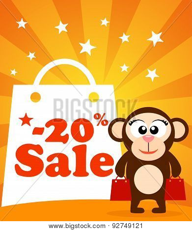Sale poster with monkey