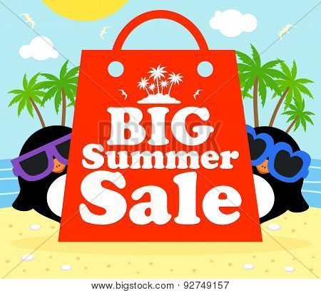 Summer Sale Poster With Penguins