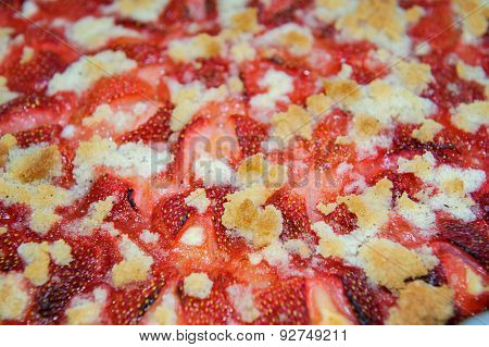 Closeup View To Streusel Pie With Strawberries