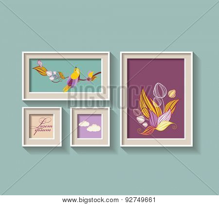 Set of a frame with flowers and bird