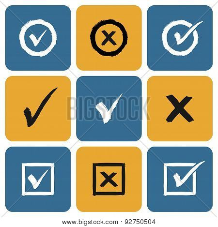 Vector Set of hand drawn Check Marks Icons