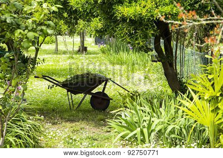 Landscape Gardening, Wheelbarrow With Gardening Tools In A Green Rural Garden