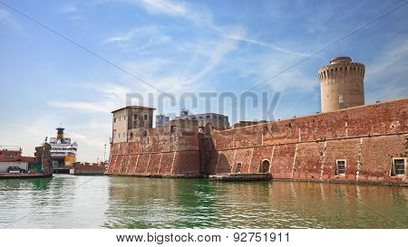 Old Fortress In The Port Of Leghorn, Italy