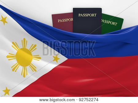 Travel and tourism in Philippines, with assorted passports