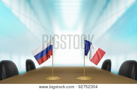 Russia and France relations and trade deal talks 3D rendering