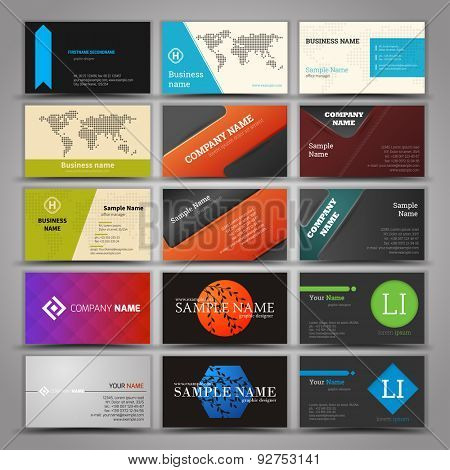 Fifteen colorful business card template