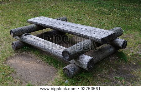 Outdoor Wooden Table In A Forest