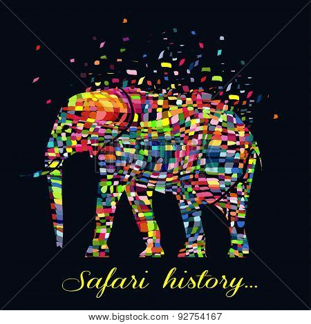 Vector illustration of a abstract elephant animal  in graphic style