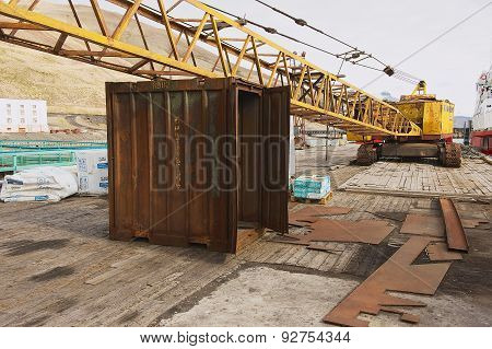 Exterior of the old port equipment at the pier of the abandoned Russian arctic settlement Pyramiden,