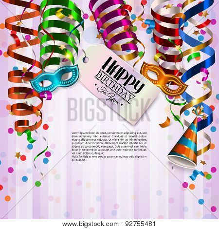 Birthday card with colorful curling ribbons, birthday mask, hat and confetti.