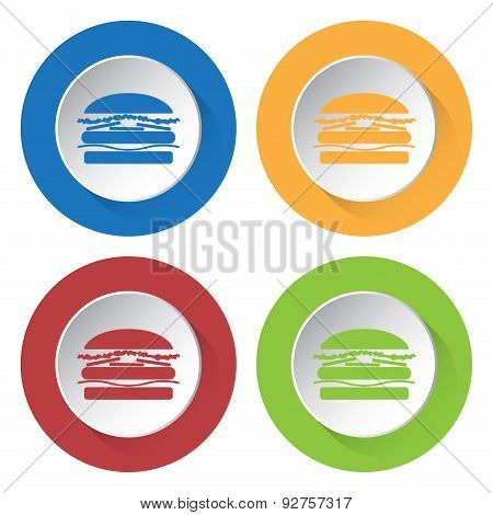 Set Of Four Icons With Hamburger