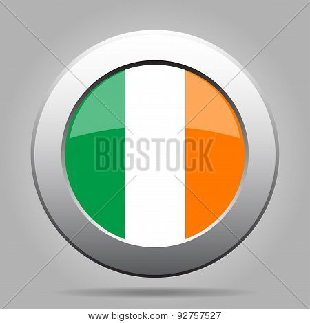 Metal Button With Flag Of Ireland