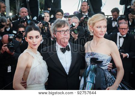 Cate Blanchett, Rooney Mara, Todd Haynes  attends the 'Carol' Premiere during the 68th annual Cannes Film Festival on May 17, 2015 in Cannes, France.